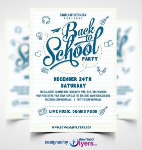 Back to School Party Flyer Template Free PSD