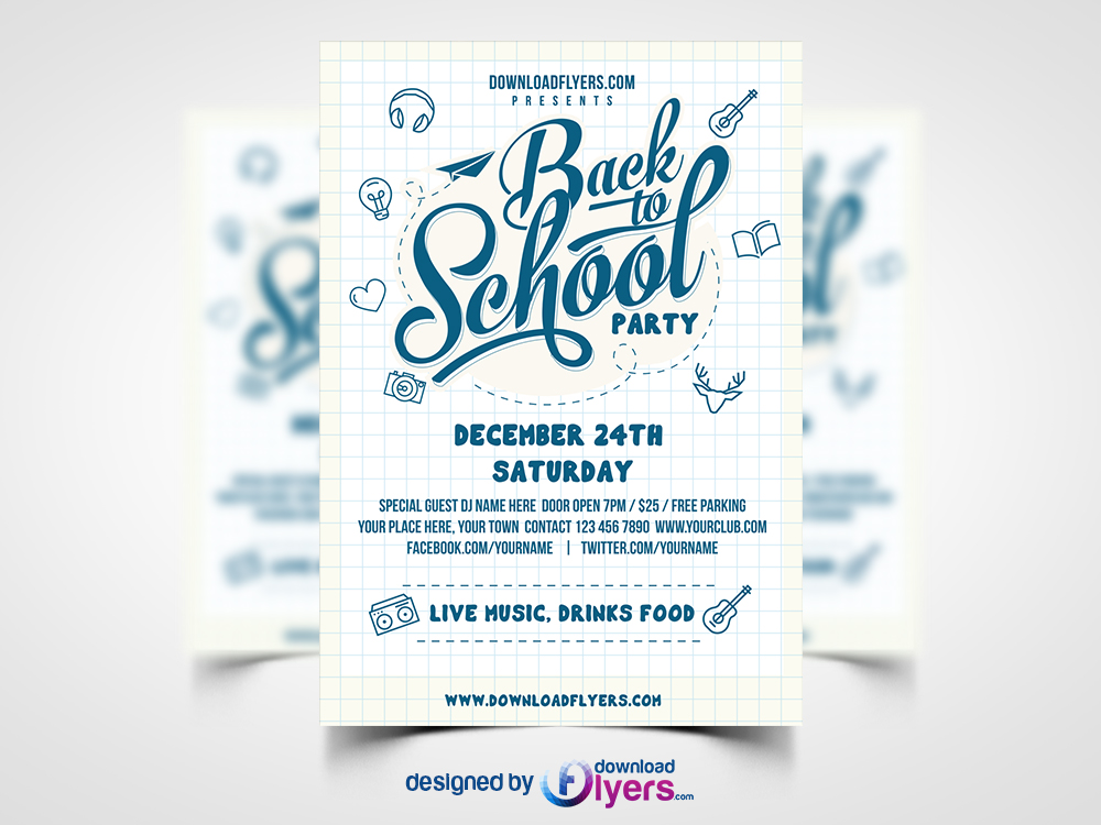 Back to school party flyer template free psd download for Free templates for brochures and flyers