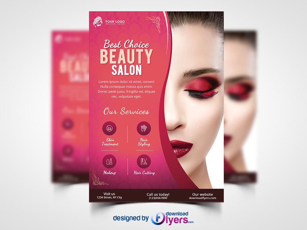 Beauty Salon Flyer Template Free PSD Download