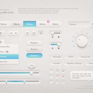 Blue Milk UI Kit PSD file
