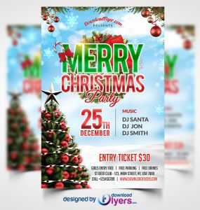 Christmas Party Flyer Free PSD Template