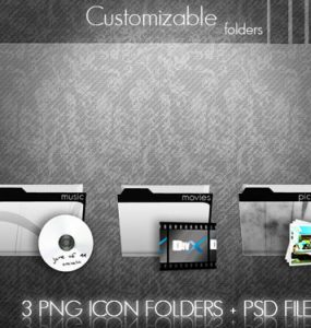 Customizable Folders Icons PSD, PNG Icons, Layered PSDs, Icons,