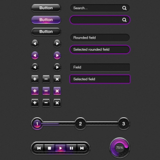 Purple Web UI Elements Kit PSD freebie