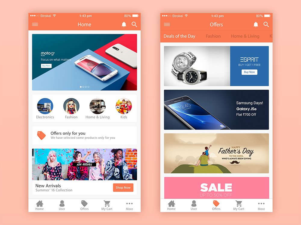 Ecommerce app ui free psd download download psd for App design online