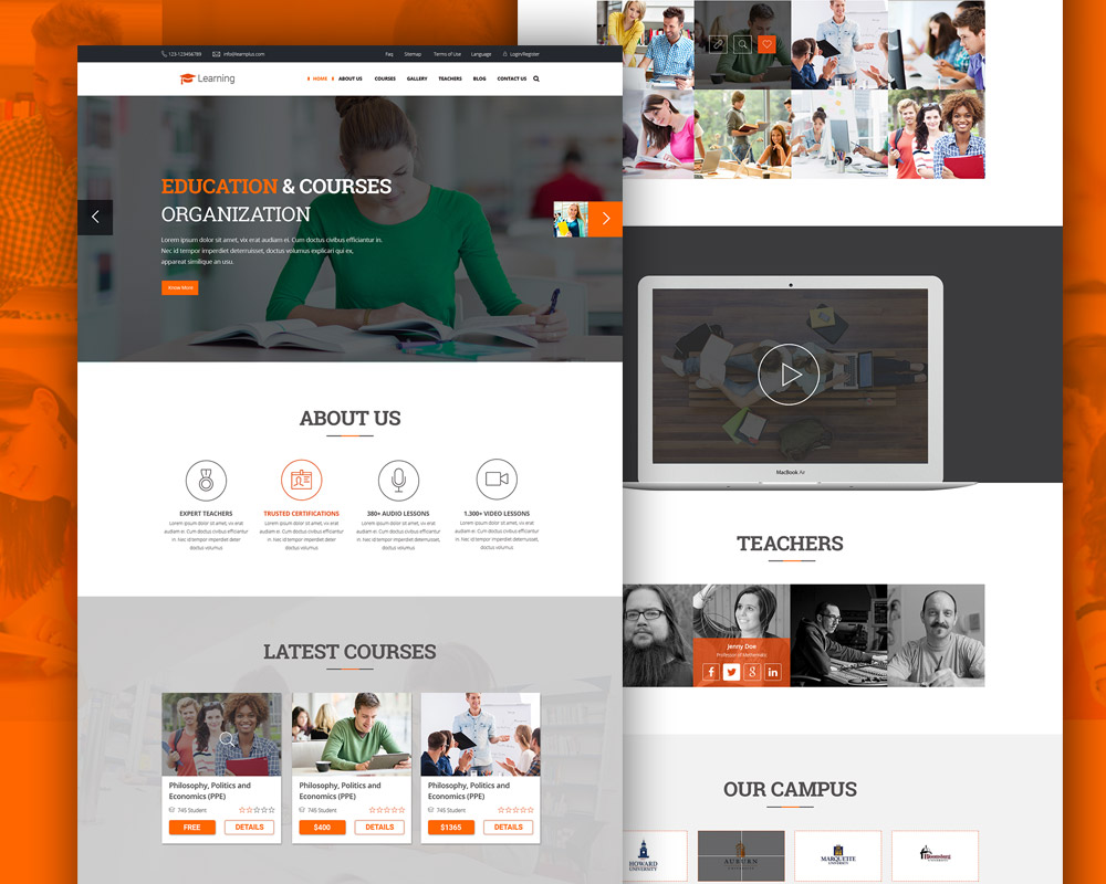 eLearning Education Website Free PSD Template Download - Download PSD