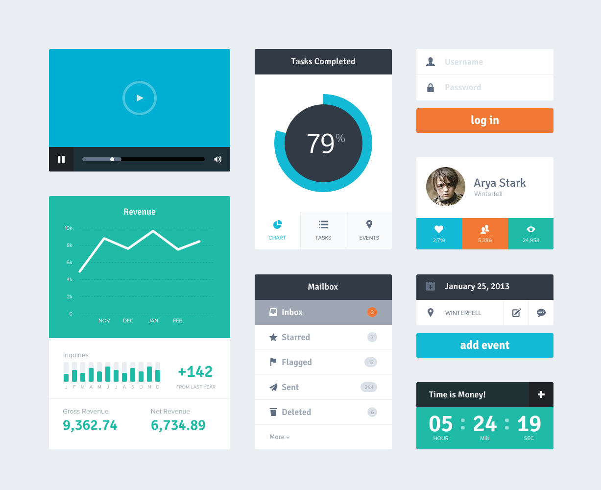 Flat UI Kit Freebie PSD