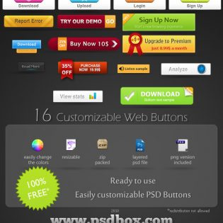 Free PSD Customizable Web Buttons