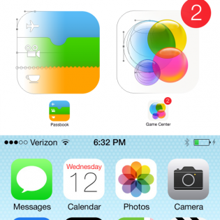 iOS 7 Home Screen With Icons PSD