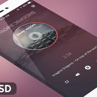 iOS 7 Music Player App PSD