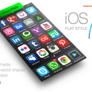 iOS 7 Social Media Icons Free PSD