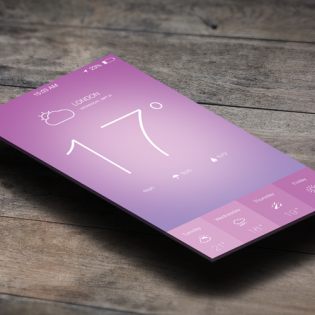 iOS 7 Weather App Design PSD