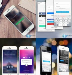 iOS 8 Login Screens UI Design Free PSD Set