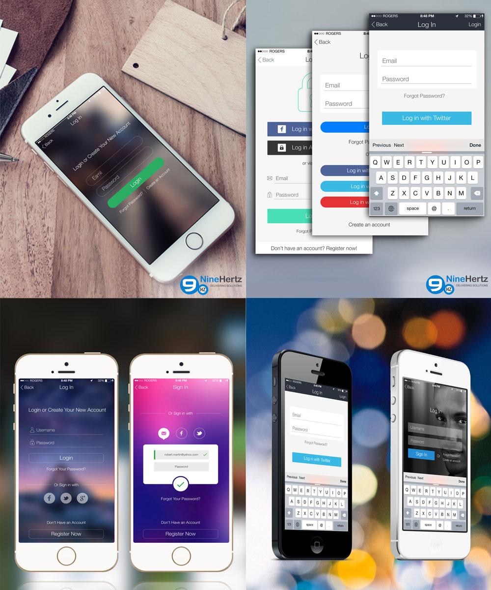 iOS 8 Login Screens UI Design Free PSD Set
