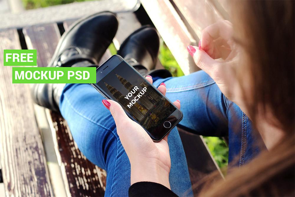 iPhone 6 Mockup in Female Hand Free PSD