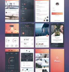 iPhone 6 iOS Application UI Kit Free PSD