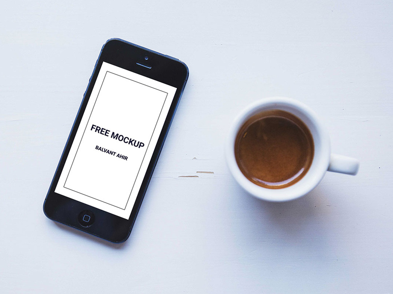 IPhone With Coffee Cup Mockup Free PSD