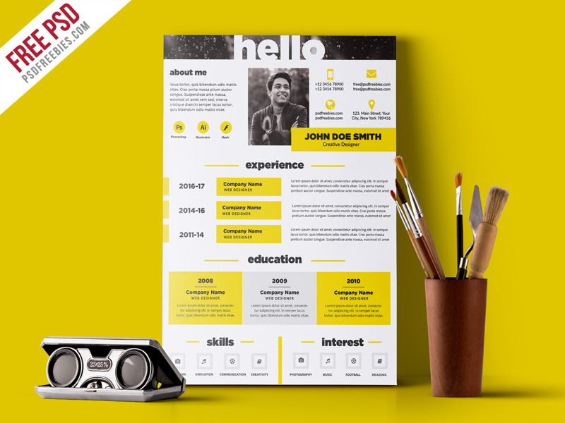 creative and elegant resume template free psd download download psd