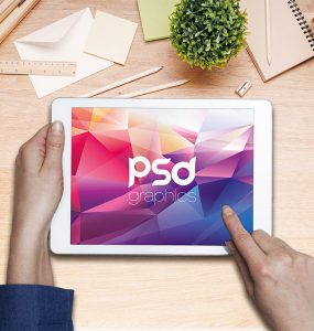 Working on iPad Mockup Free PSD