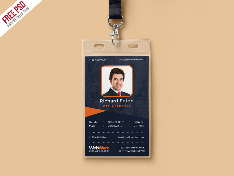 vertical company identity card template psd download psd
