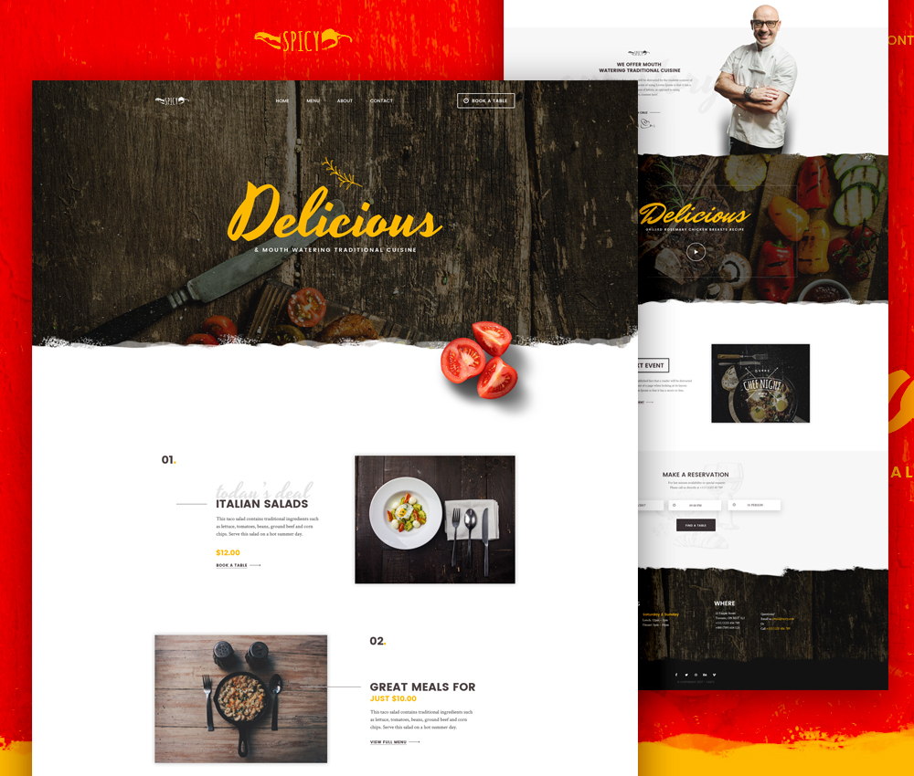 Restaurant And Cafe Website Template Free PSD