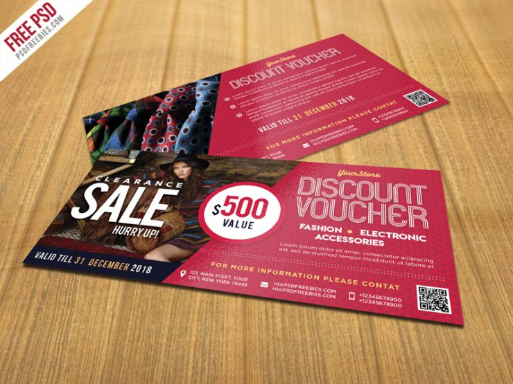 Sale discount voucher psd template freebie download psd for Sd card label template
