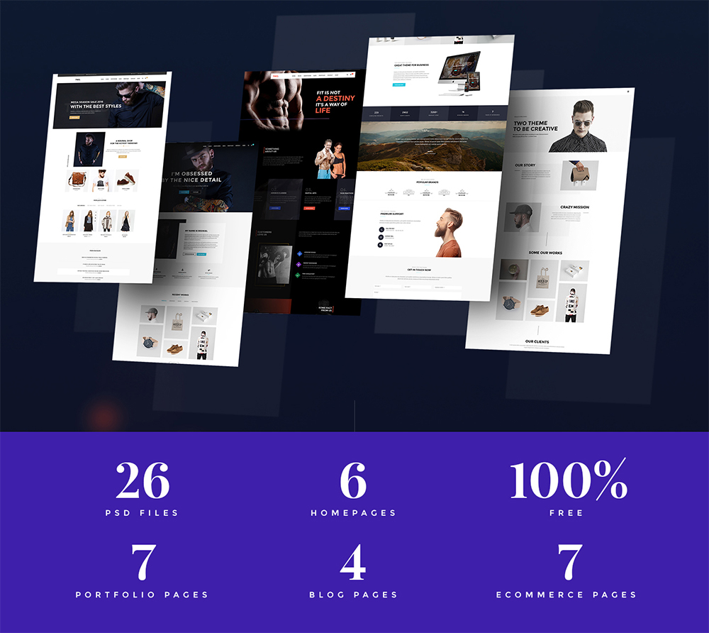 Multipurpose Website Templates Free PSD
