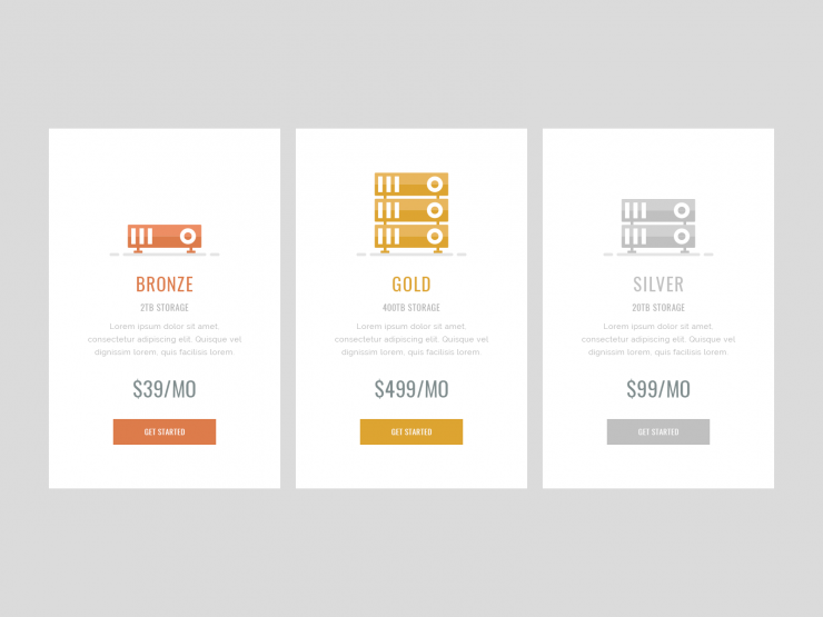 Simple Pricing Table UI Design Free PSD