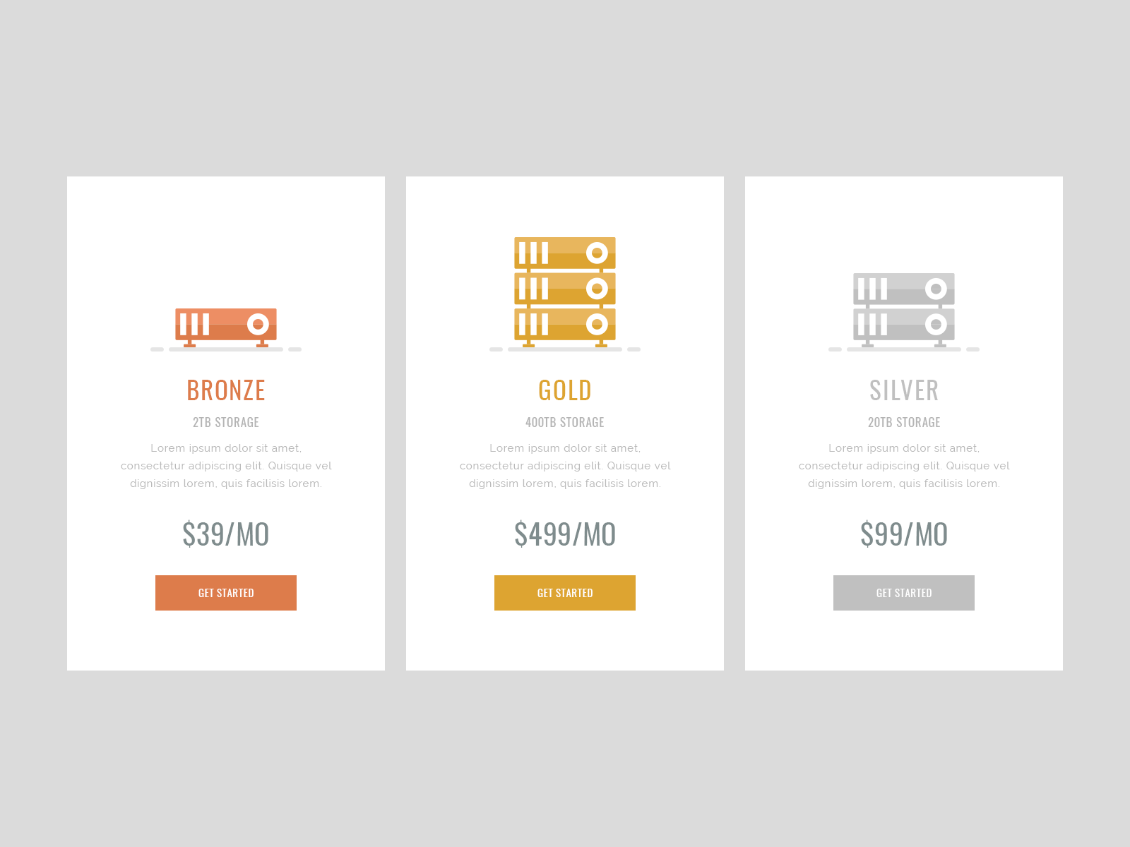 Simple Pricing Table UI Design Free PSD