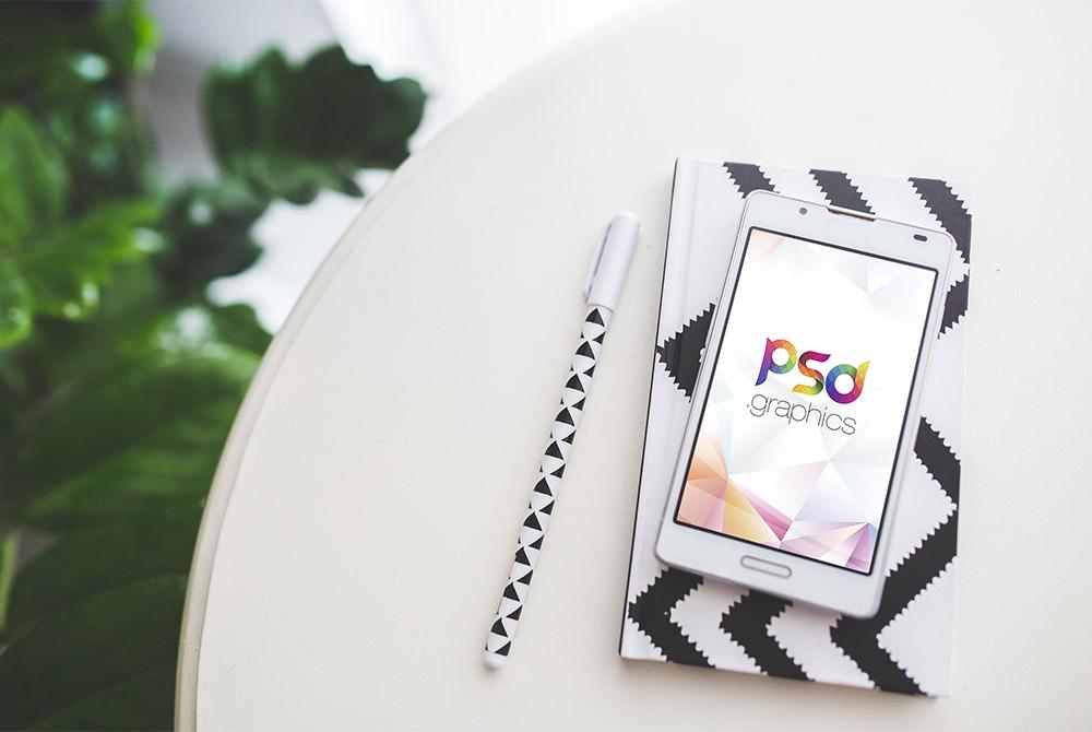 White Smartphone Mockup Free PSD