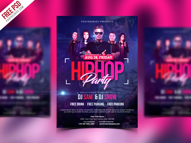 HipHop Party Invitation Flyer PSD Template Download - Download PSD