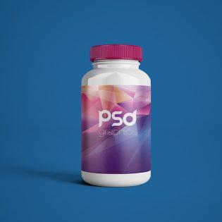 Plastic Pill Bottle Mockup Free PSD