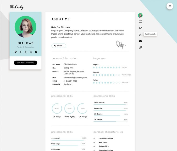Resume CV Website Theme Template Free PSD
