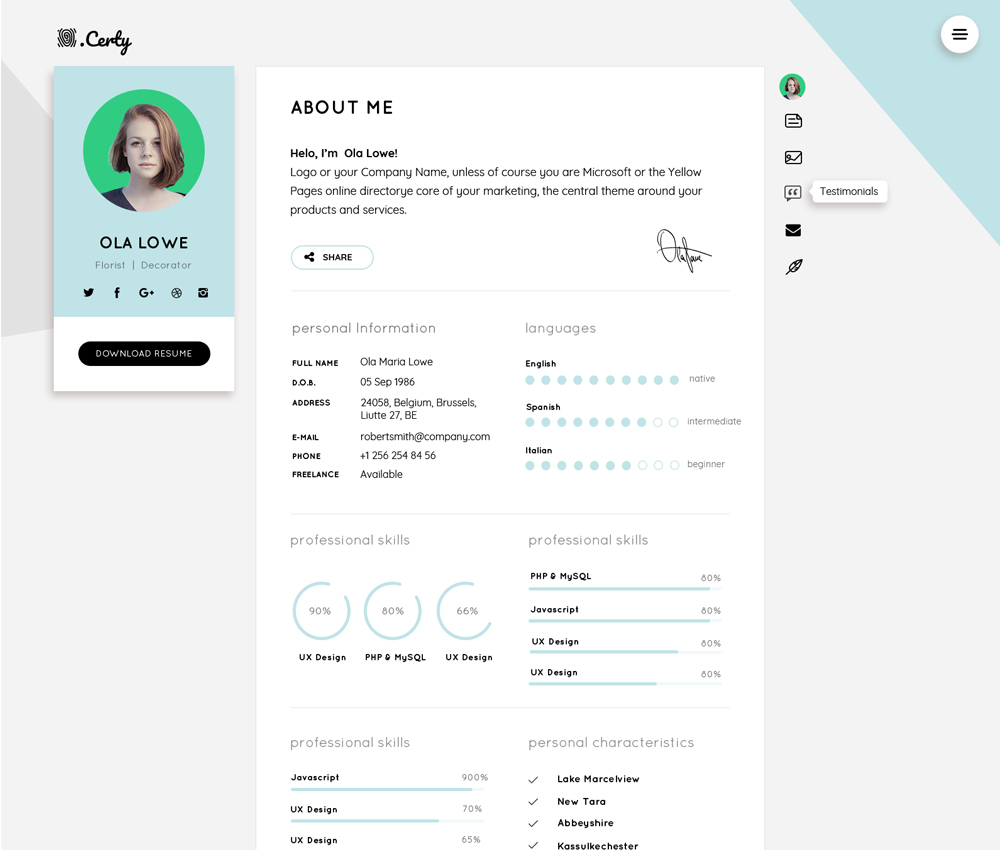 Resume CV Website Theme Template Free PSD