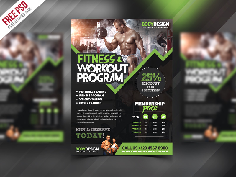 fitness program template free download - gym fitness workout program flyer psd template download psd