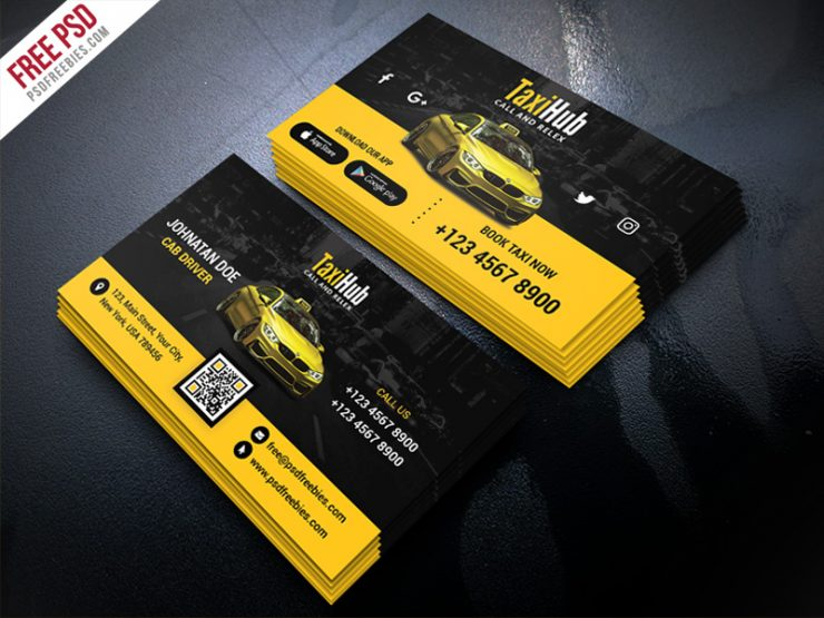 Cab Taxi Services Business Card Template PSD