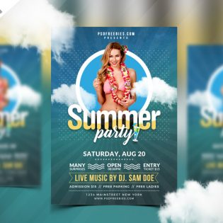 Best Free Summer Party Flyer PSD Template