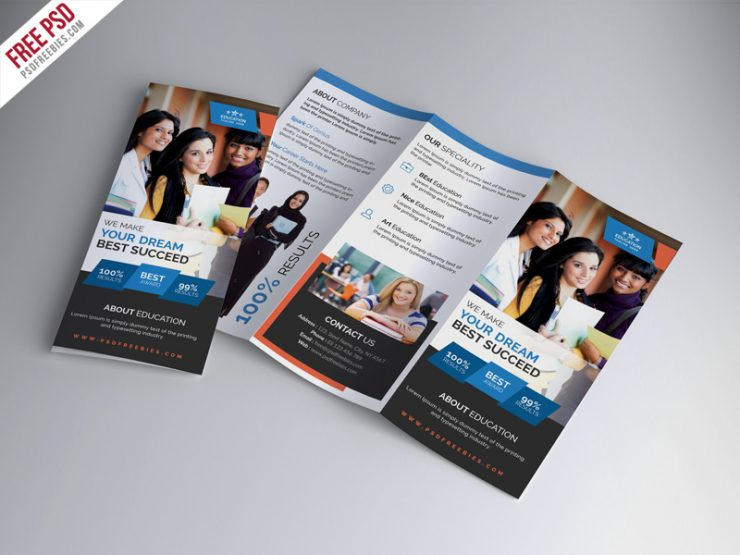 University Education Tri-fold Brochure PSD Template