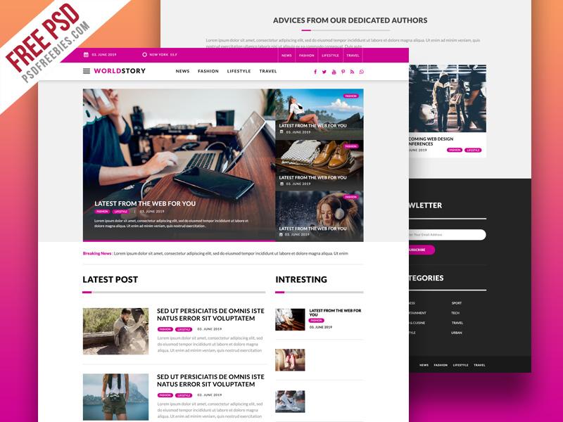 Multipurpose Magazine Blog Web Template Free PSD
