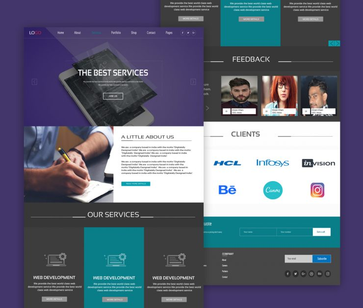 Psd Sites: Web Design Services Website Template PSD