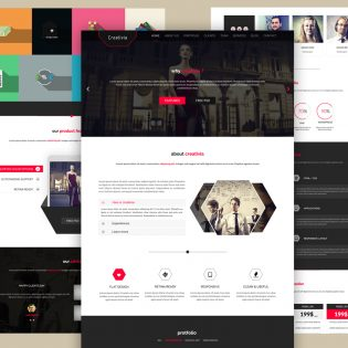 Corporate One Page Website Template PSD