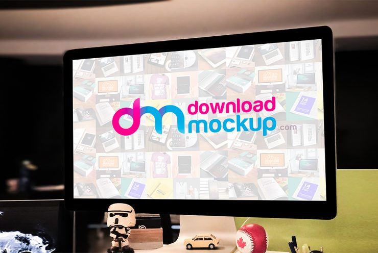 Apple Cinema Display Mockup Free PSD