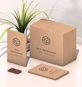 Isometric Box Packaging Mockup Free PSD