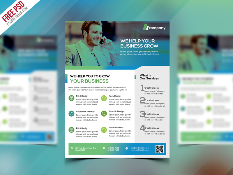 Clean Business Flyer Template Free PSD - Download PSD