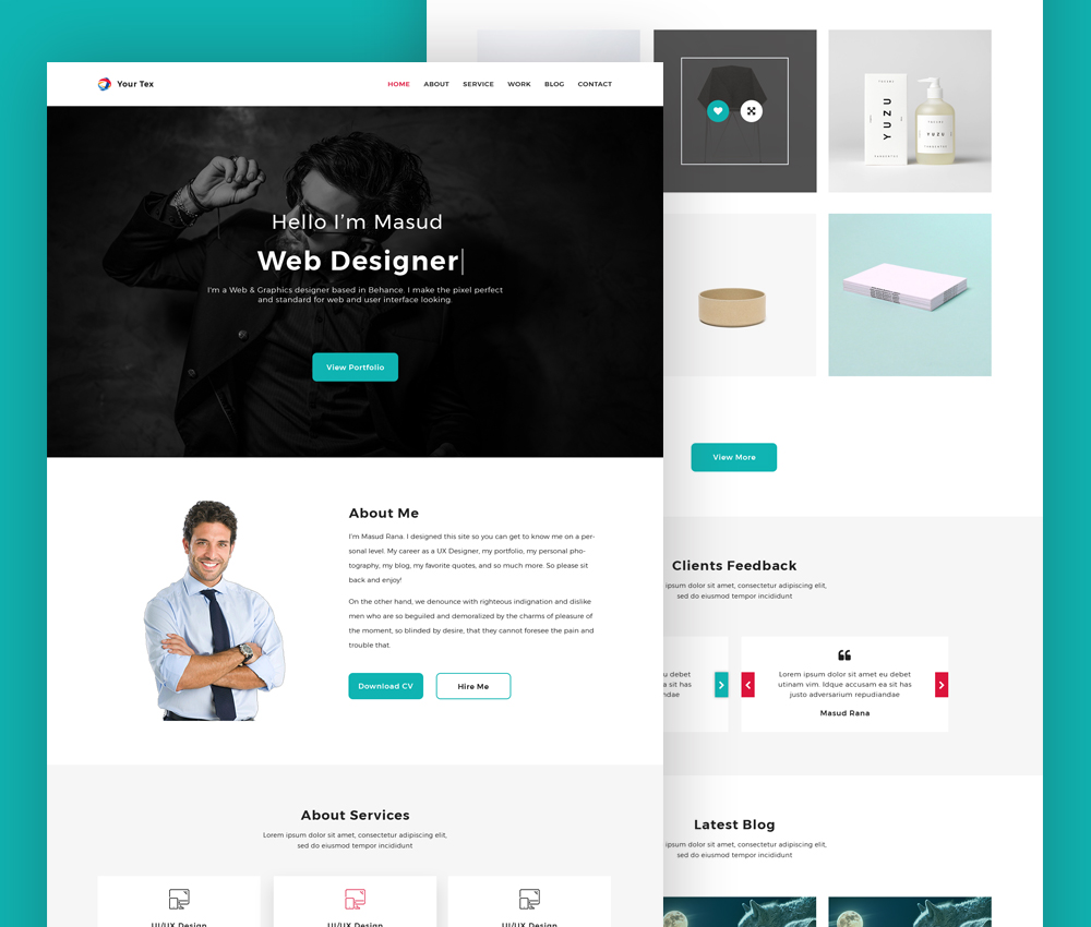 Web Designer Personal Portfolio Website Template Psd Download