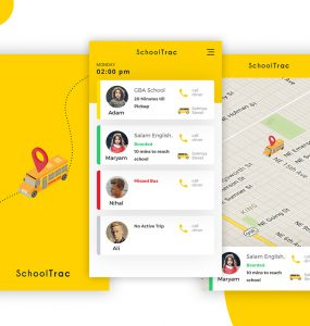 Bus Tracking Mobile App Free PSD