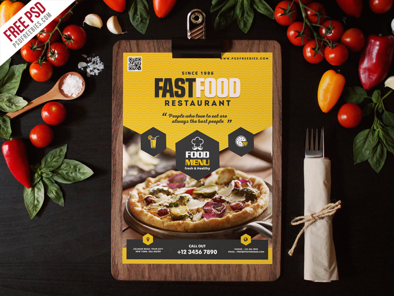 Fast Food Restaurant Menu Flyer Template Psd Download - Download Psd
