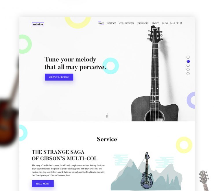 Music Shop Website Template Free PSD