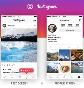 New Instagram App UI Template Free PSD