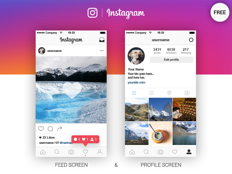 New Instagram App UI Template Free PSD - Download PSD