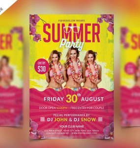 Summer Party Flyer PSD Template
